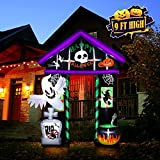 YUNLIGHTS 9 FT Tall Halloween House Archway Inflatable, Halloween Inflatable Haunted House with Skeleton Ghost & Skull, Blow Up Lighted Decor With Built-in LED, Inflatable Decoration For Holiday Party