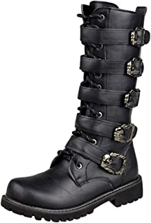 Mens Motorcycle Boots Flat Low Heel Lace Up Westerm Combat Boots Snow Boots