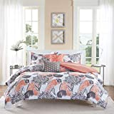 5 Piece Girls Pink Grey Floral Theme Comforter Full Queen Set, Pretty All Over Abstract Wild Flower Bedding, Beautiful Girly Multi Flowers Pattern Reversible Solid Themed, Dark Gray Salmon Coral Rose
