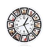 Albertband Orologi da Parete Orologio da Parete Personalizzato con Foto del 9/12/13 Orologio con Nome Inciso con Data per la Decorazione di Nozze della Famiglia della Mamma (#1-12Foto)