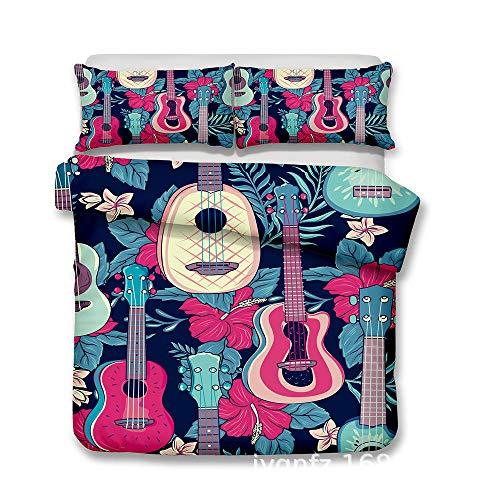 XLLJA Bettbezug Set 2 Personen,3D Guitar Series Bettwäsche-Sets, Bettbezug und 2 Kissenbezüge, Kinderzimmer, Gästezimmer, Ferienhaus, Königin, Super King @ T4_135 * 210cm (2pcs)