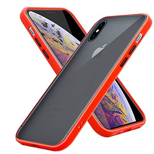 Cadorabo Funda Compatible con Apple iPhone XS MAX en Mate Rojo - Botones Negros - Funda para teléfono móvil con Interior de Silicona TPU y Parte Trasera de plástico Mate