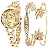 Weicam Women's Diamond Wristwatch Bangle Bracelet Jewelry Set Analog Quartz Wrist Watch for Ladies (Gold)