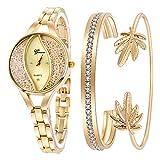 Weicam Women's Diamond Wristwatch Bangle Bracelet Jewelry Set Analog Quartz Wrist Watch for Ladies (Gold)