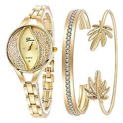 Gold Bangle & Bracelet Jewelry Set Analog Quartz Wrist Watch