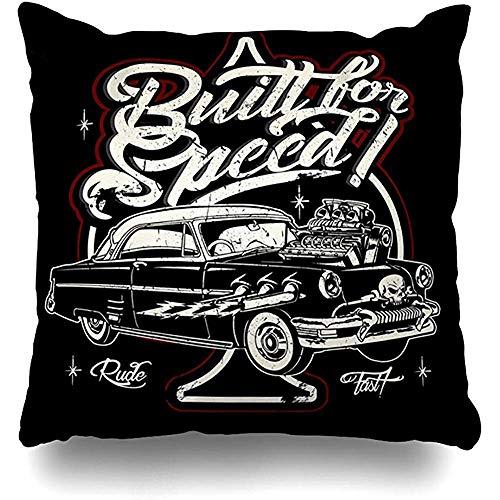 Snbin Dekokissenbezug Kissenbezug Flame Retro Hot Rod Auto Vintage Muscle Rockabilly American Antique Classic Coupé Kissenbezug