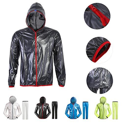 ZQQ Outdoor-Regenhose, Ultraleichte, Tragbare Verpackung Wiederverwendbareatmungsaktive Jacke Mit Hut - Fahrradausrüstung,Bluepants,M