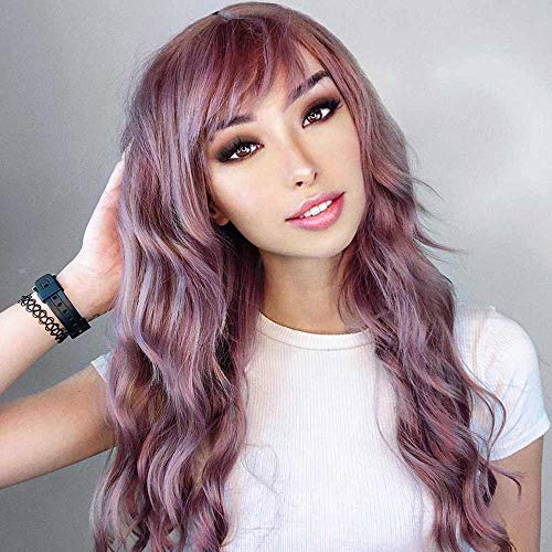 G&T Wig Long Wavy Wig With Bangs, Silky Colorful Wigs for Women - Grey Pink Heat Resistant Synthetic Wig for Daily Party Cosplay (Lavender color, 26 inch)