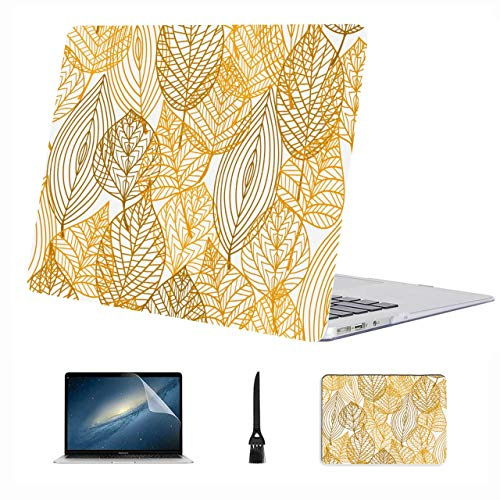 Mac Air Case Clear Golden Autumn Season Leaves Plastic Hard Shell Compatible Mac Air 13' Pro 13'/16' Macbook Case Protective Cover For Macbook 2016-2020 Version