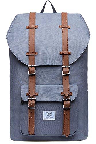KAUKKO Unisex Nylon Rucksack für 15 Zoll Laptop für Arbeit, Schule oder Reise, 20.77 Liters, 26 * 17 * 47 cm (Grau JNL-D1-09)