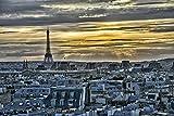 Lulcly Puzzle 1000 Piezas Adultos Escape De La Ciudad Cielo París Torre Eiffel Francia Madera Regalos Educativos De Bricolaje Para Niños Pieza Póster