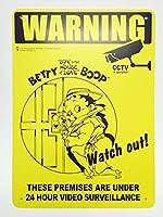 ベティ・ブープのサインボード 24時間監視中 サインプレート メッセージボード アメリカ看板 アメリカン看板 看板