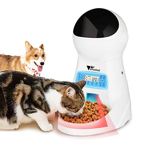 amzdeal Distributore Cibo Automatico per Gatti e Cani con LCD Display, Monitoraggio a Infrarosso, Registra Voce, 3.5L, 1-4 Pasti per Giorno
