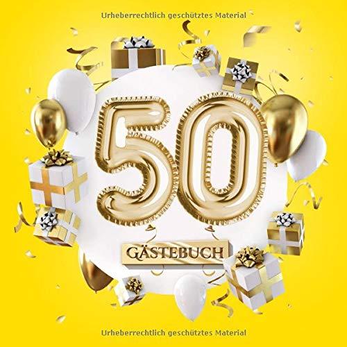 50 Gästebuch: Gelbe Deko zum 50.Geburtstag für Mann oder Frau - 50 Jahre Geschenk - Partydeko Gelb...