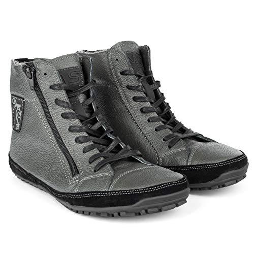 Magical Shoes Barfußschuhe Herren gefüttert I wasserdichte Leder Barfuß Schuhe   Men   Winter   Stiefelette   Nubukleder I Gr. 46, Grau I Alaskan X