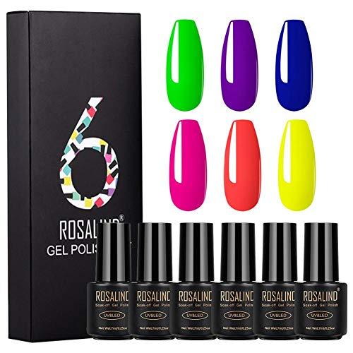 Finelyty Juego de esmaltes de uñas con Gel UV, Juego de esmaltes de uñas, Kit de Moda de Esmalte de Gel con remojo LED, para decoración de uñas