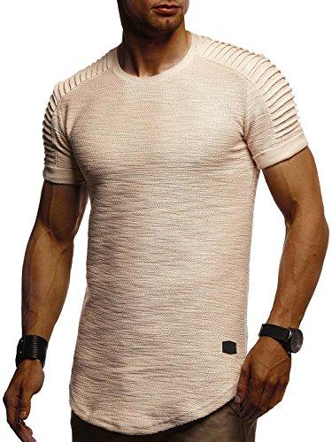 Leif Nelson Herren Sommer T-Shirt Rundhals-Ausschnitt Slim Fit Baumwolle-Anteil Moderner Männer T-Shirt Crew Neck Hoodie-Sweatshirt Kurzarm lang LN6325 Beige Medium