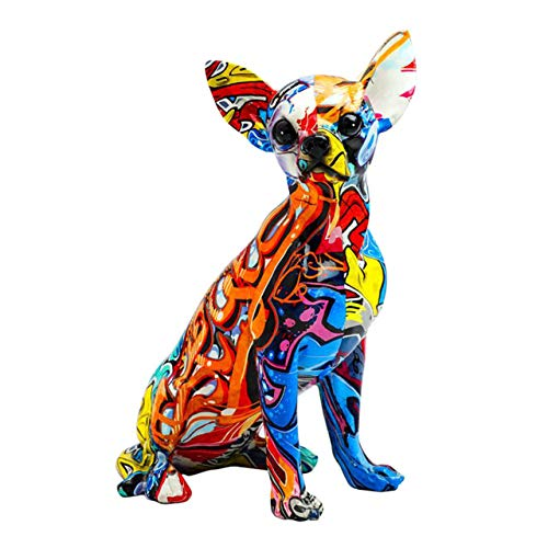 HUANSUN Estatuilla de Perro de Resina Multicolor, Escultura de Estatua, decoración Interior de Coche, Escultura de Bulldog Chihuahua, Estante de Mesa, Armario, Chihuahua