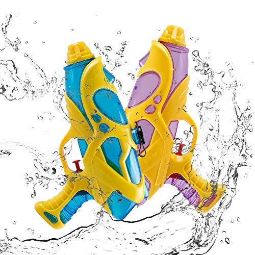 infinitoo 2 Stück Wasserpistole Spritzpistolen Set 200ml Water Gun mit 8-10 Meter Reichweite Blaster Spielzeug für Kinder Party Strand Pool etc.