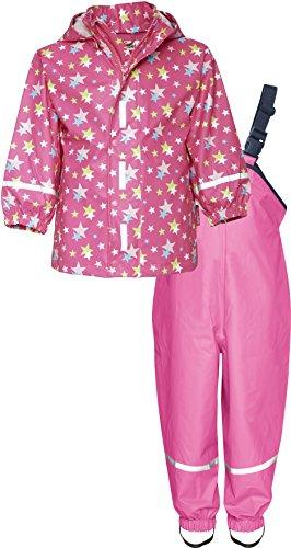 Playshoes Kinder Regenanzug, Zweiteiliger Matsch-Anzug für Jungen und Mädchen mit abnehmbarer Kapuze, mit Sternen-Muster, Rosa (pink 18), 128