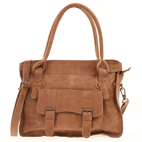Yasmin Bags Ladies Leather Double-Handled Everyday Vintage Satchel Shoulder Bag - Crunch Cognac Y0036