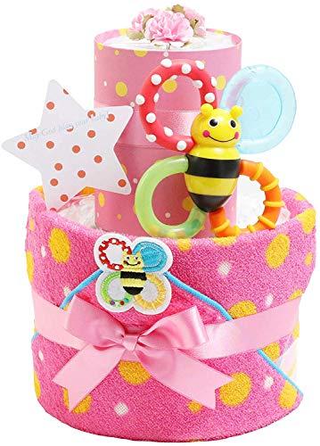 Sassy サッシー おむつケーキ 出産祝い 名入れ刺繍 ループ付きタオル 歯固め 男の子 女の子 ご出産祝い 御出産祝い ギフト プレゼント 2段 オムツケーキ ピンク ムーニーパンツタイプMサイズ