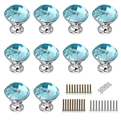 BTSKY 10 PCS 30mm(1.18inch) Clear Glass Crystal Cabinet Knobs Diamond Shape Pull Handle for Drawer Cupboard and Dresser, Come with 3 Kinds of Screws (Aqua Blue)