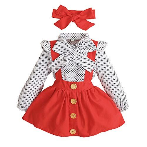 Toddler Girl Outfits 1-4 T Long Sleeve Shirt Overall Skirt Headband...