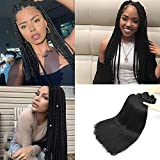 Pre Stretched Braiding Hair 8 Packs Easy Braid Hair, Hot Water Setting Professional Soft Yaki Texture Crochet Twist Kanekalon Ombre Braiding Hair Extensions (26'', 1B)