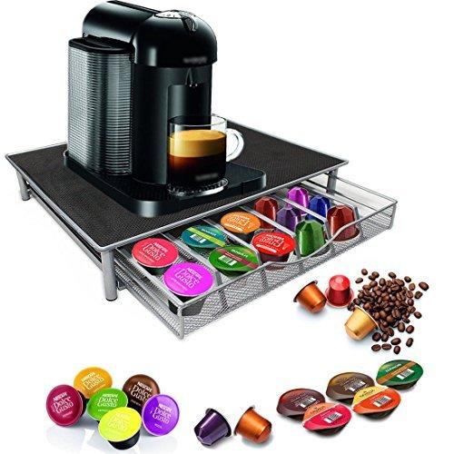 Homezone Nespresso Dolce Gusto Kaffeemaschine Ständer und Kaffeepad Kapsel-Halter - 36 Kapseln Stapelbar Ständer - Anti-Vibration rutschfest Oberfläche (silber/grau)