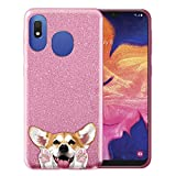 FINCIBO Case Compatible with Samsung Galaxy A10e A102U 5.83 inch 2019, Shiny Sparkling Pink Bling Glitter TPU Protector Cover Case for Galaxy A10e A20e (NOT FIT A10) - Red Pembroke Welsh Corgi Dog