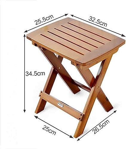 LJ&XJ Pliable Bambou Bois Tabouret, Portable Bois Massif Plein air Chaise de Camping Multifonction Ménage Tabouret carré, Randonnée Plage-D S