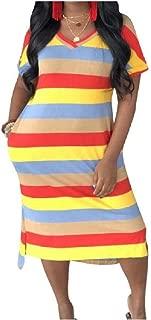 Mogogo Womens V-Neckline Short Sleeve Stripes Printed Pockets Split Tunic Top Dress