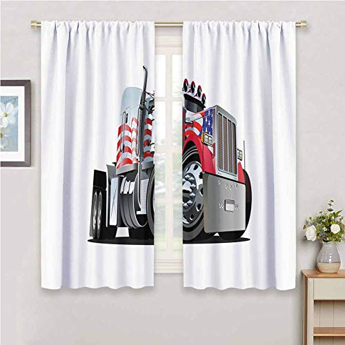 DIMICA Farmhouse Curtain Truck American Flag Themed Semi 18 Wheeler Patriotic Transportation Industrial Vehicle Soundproof Shade W63 x L45 Inch Red White Blue