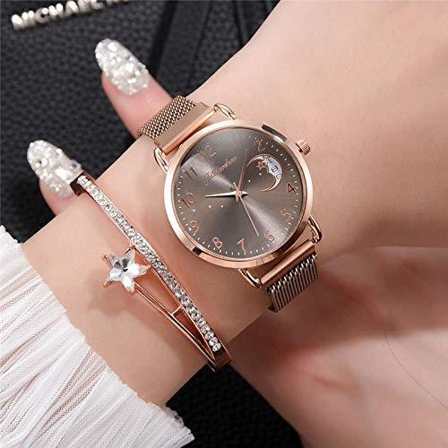 DSGTR Cronógrafo Informal Reloj de Negocios Correa de Malla de Oro Rosa Reloj de Moda para Mujer Esfera Digital Simple Reloj de Cuarzo Reloj de Dama Reloj con Puntero de Oro Rosa Reloj de caba