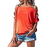 Mayntop Camiseta de manga corta para mujer, estilo bohemio, estilo étnico, de manga corta, lisa, con hombros descubiertos, talla grande