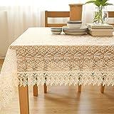 XTUK Home Decoration Tischdecke Tischdecke Weiß Stoffbezug Stoffbezug Handtuch Stoff Tischdecke Spitze Kaffeetischdecke Kaffeetischdekor Stoff Tischdecke Beige 95 * 145 cm