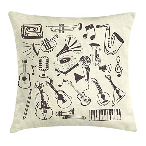 Muzikaal kussen kussensloop, met de hand getekend klassieke instrumenten en retro-grammofoon en microfoon, decoratieve vierkante accentkussensloop, 18 x 18 inch, donkere taupe en crème