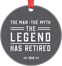 Retirement Keepsake Ornament 2019 Man Myth Legend Gift for Dad Brother Uncle Grandpa Coworker First Christmas Retired Present Special Manly Gray Simple Type 3