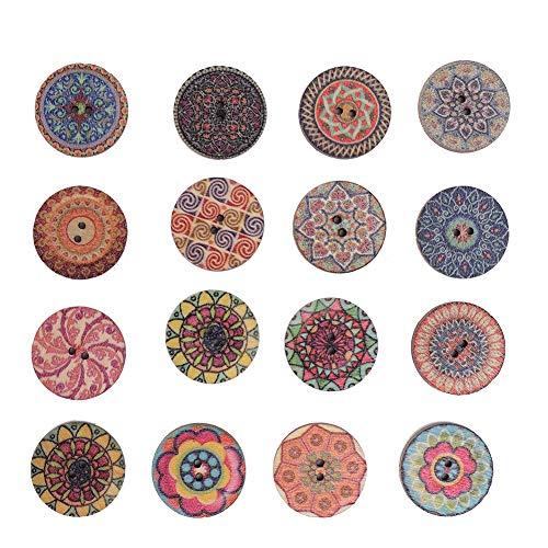 Zopsc-1 100 Piezas de botón de 20 mm, artesanía de Bricolaje, Accesorios de Bricolaje, botón de Madera con patrón de Flores de Forma Redonda para Colecciones de Equipaje para el hogar