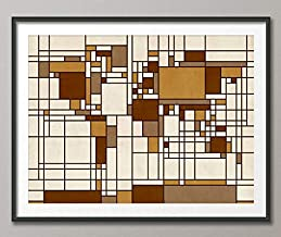 Silver8847 Map of The World Map in The Style of Piet Mondrian Art Print