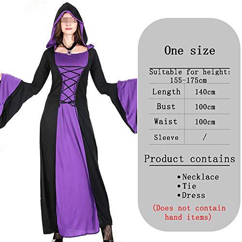 Dames Gotische Heks Halloween Lange Kostuum, Zwart En Paarse Borduurwerk Lange Mouw Jurk Cosplay Masquerade Halloween Hooded Kostuum