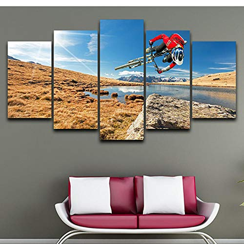 Wuyii Moderne Hd bedrukte afbeeldingen 5 panelen mountainbike landschap muurkunst wooncultuur frame canvas schilderij poster 20x35cmx2/20x45cmx2/20x55cmx1