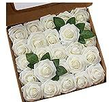 25 rosas artificiales de seda, flores de seda, tallo único que florece, ramo de novia para bodas, funerales, decoración de fiestas de cumpleaños en el hogar, decoración de jardín (blanco)