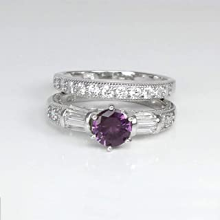 Color-Changing Alexandrite and Diamonds Engagement Ring Set Sterling Silver