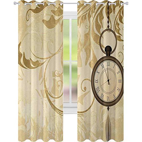 Cortinas opacas para dormitorio, diseño de fondo vintage con relojes de bolsillo en cadena, diseño retro romántico, 153 cm de largo, cortinas de bloqueo de luz para guardería, color marrón