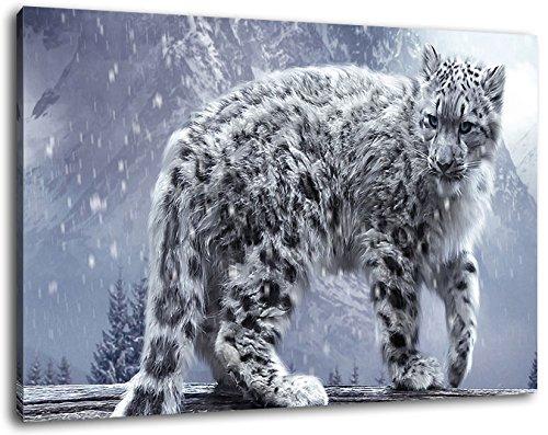 Witte Luipaard schilderij op doek, XXL enorme Foto's volledig ingelijst met brancard, Art print op muurfoto met frame