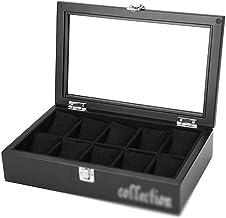 Horloge Box Organizer Kussensloop -10 Slot Premium Display Cases Met Ingelijst Glas Deksel Elegante Contrast Stikken Stevi...