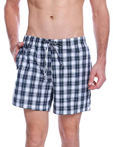 Aibrou Pantalon de Pijama Hombre Corto de Algodon Pantalón de Casa Vearno Salón Pantalones de Dormir a Cuadros