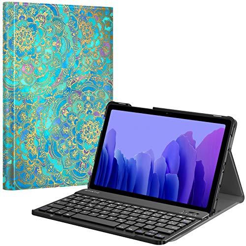 Fintie Tastatur Hülle für Samsung Galaxy Tab A7 10.4'' 2020 (SM-T500/T505/T507), Ultradünn leicht Schutzhülle mit magnetisch Abnehmbarer drahtloser Deutscher QWERTZ Bluetooth Tastatur, Jade